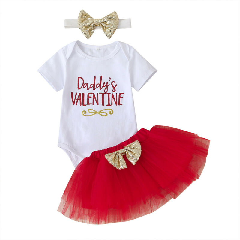 MY 1st Valentine/'s Day Baby Girls Letter Print Romper+Tutu Skirt Outfits Clothes