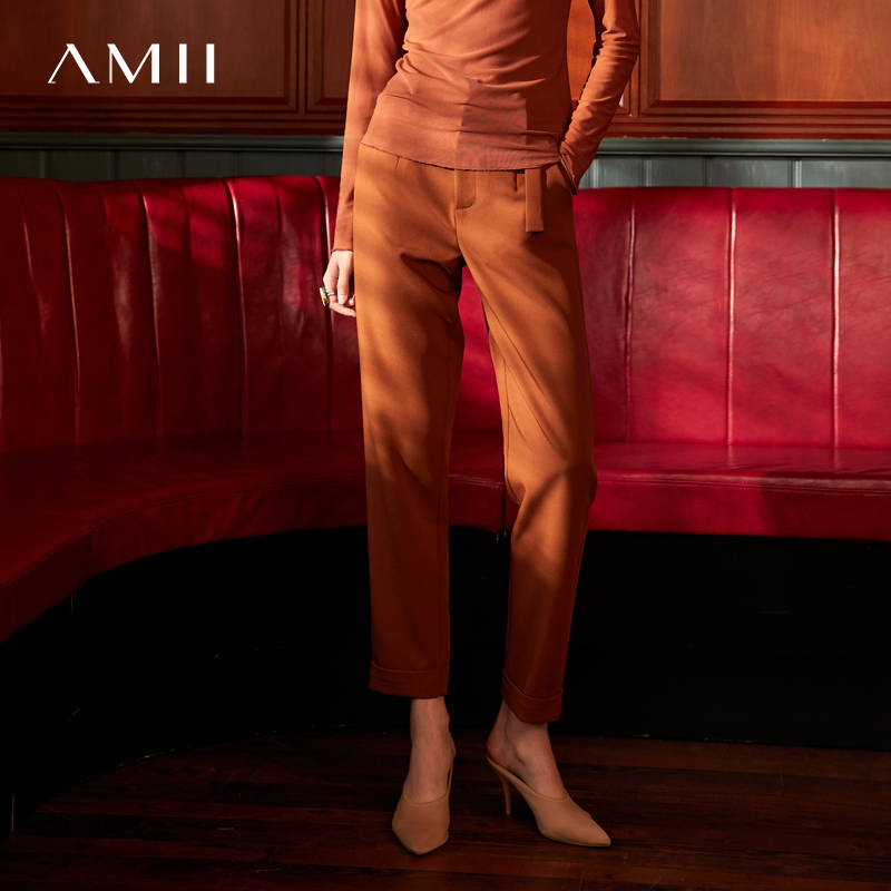 Amii Minimalist Suit Pants Winter Women High Waist Solid Loose Office Lady Casual Long Pants 11920197