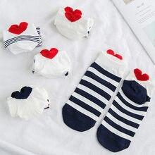 5 par/lote nueva llegada las mujeres calcetines de algodón conjunto lindo Animal Panda de caricatura corto calcetines de tobillo Casual corazón rojo niña medias tamaño 35-40