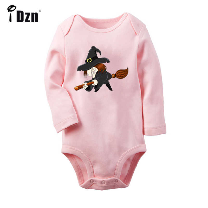 Cartoon Flying Witch halloween Trick Or Treat Black Cat Newborn Baby Bodysuit Toddler Long Sleeve Onesies Jumpsuit Clothes