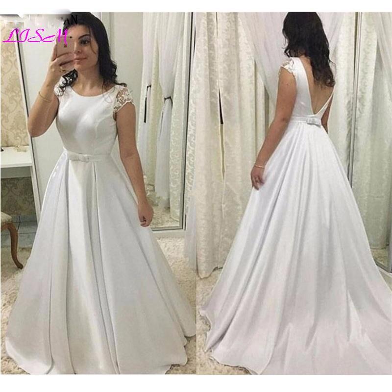 Simple Satin Wedding Dress Scoop Cap Sleeves Floor Length Backless Wedding Gown Sash Bow White Ivory Plus Size Vestido De Noiva