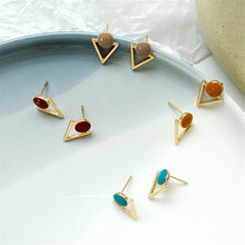 South Koreas new fashion simple retro earrings atmospheric fine metal hollow triangle drip wafer women