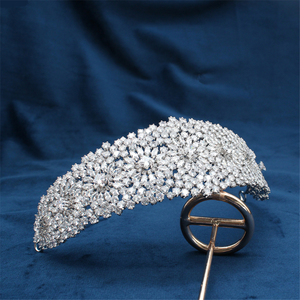Bride Full Zircon Crowns Wide Headband  Jewelry Queen Wedding Crystal Crowns Tiaras Hair Accessories Luxury Crystal High Qualit
