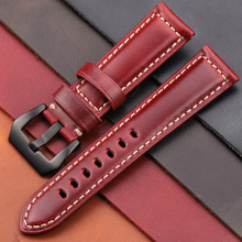 Genuine Leather Watchband Bracelet 20 22 24 26mm Women Men Oil Wax Cowhide Blue Green Red Brown Wach Band Strap Steel Buckle jobon stylish oil lighter with leather strap red