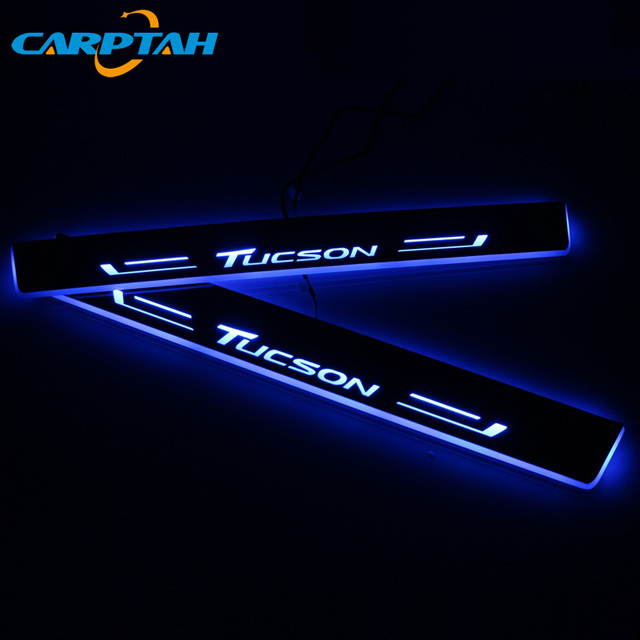 CARPTAH לקצץ חיצוני מכונית דוושת חלקי LED דלת אדן שפשוף צלחת מסלול סרט דינמי אור ליונדאי טוסון 2015  2018