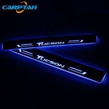 CARPTAH Trim pedallı araba dış parçaları LED kapı eşiği tıkama plakası yolu dinamik Streamer ışık Hyundai Tucson 2015 2018 için