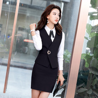2 Piece Set Skirt Suit Women Business Vest Work Wear Uniforms V Neck Metal Buttons Formal Office Ladies Interview Vest and Skirt