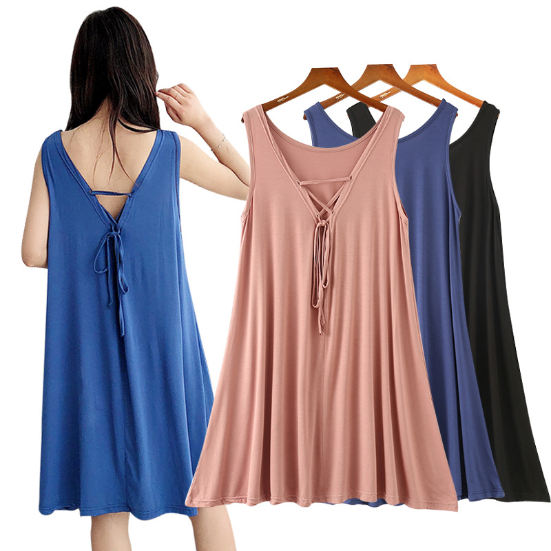 Nightgown Women's Summer New Style Fat Mm Plus-sized Loose Tracksuit Pregnant Women Pajamas Modal Dress
