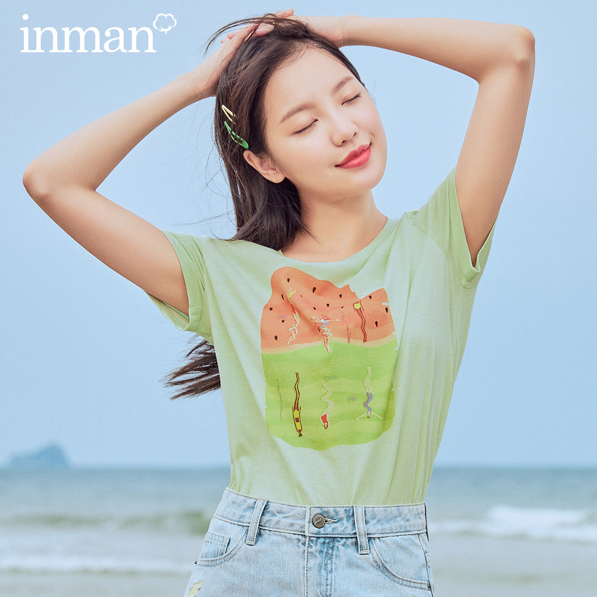 INMAN 2020 Summer New Arrival Pure Cotton Cute Funny Print Casual Short Sleeve T-shirt