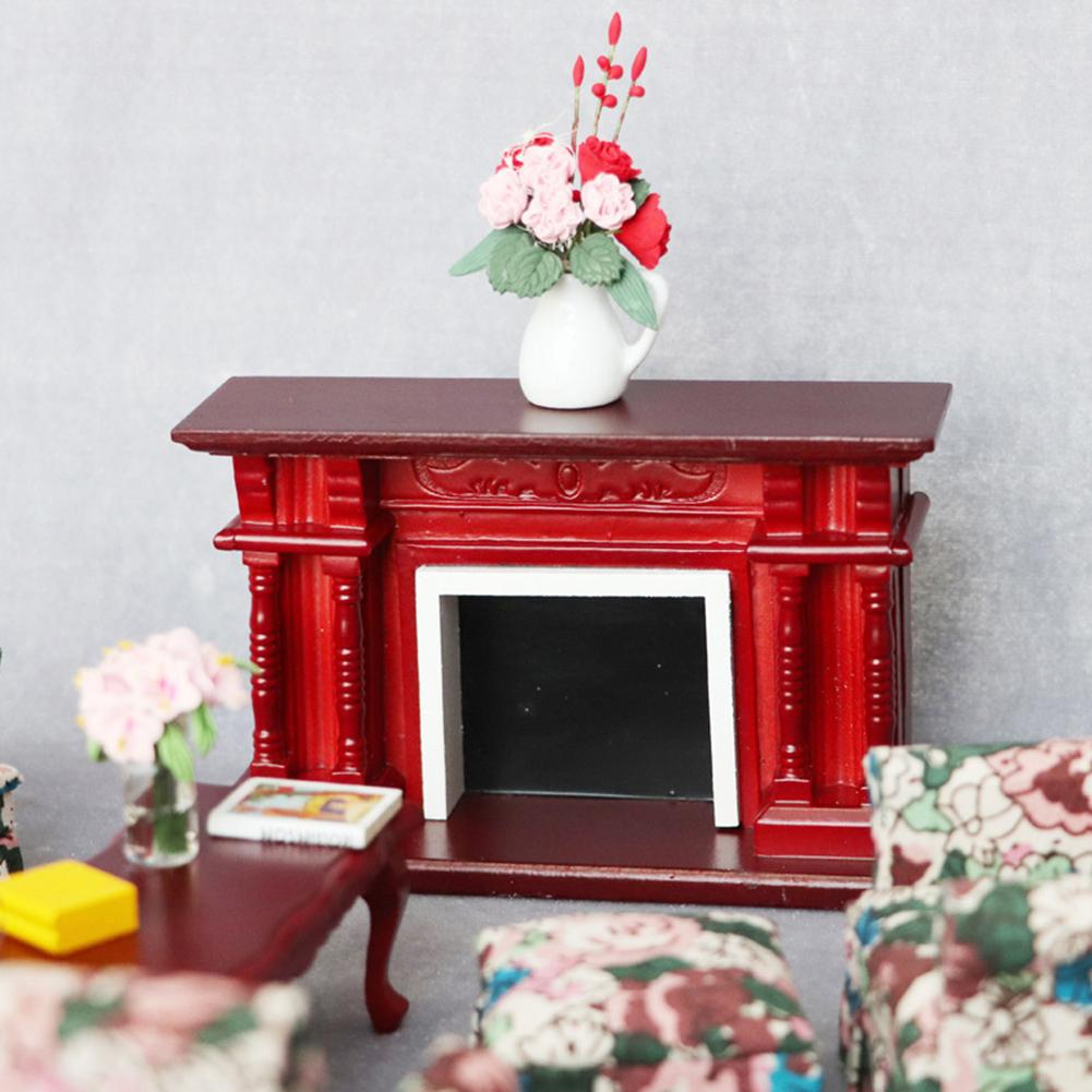 <font><b>1:12</b></font> Dollhouse <font><b>Miniature</b></font> <font><b>Furniture</b></font> Room Wooden Vintage Red Fireplace Doll House Accessories Toys for Children Gift image