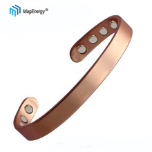 MagEnergy Unisex Copper Bracelet Magnetic Therapy For Arthritis Pain Relief Adjustable 99.9%  Real Solid Cuff Bangle