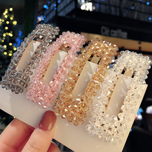 2019 Fashion Crystal Pearl Hairpin Girl Rhinestone Hair Clips Full Clip Metal Accessories