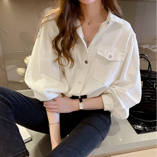 Blouses Shirts Women Spring Pockets Long Sleeve Fashion Solid Korean Style Loose Students Chic Womens Vintage Street Elegant New 1