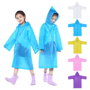 Solid-Ponchos Raincoats Girls New for 6-12-Years-Old High-Quality Beautiful 1PC Reusable