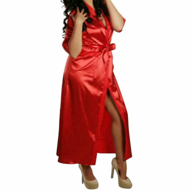 NEW Women Robes Sexy Ladies Sleepwear Long Silk Satin Kimono Robe Dressing Gown Bathrobe One Size