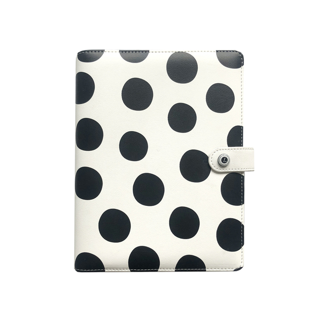 Lovedoki Black White Polka Dot Personal Diary A5 Spiral Notebook Planner Organizer Business School &Office Stationery Supplies