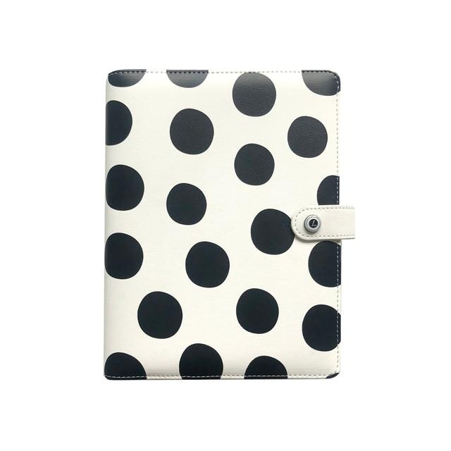 Lovedoki noir blanc à pois journal personnel A5 spirale cahier planificateur organisateur affaires école et bureau papeterie fournitures