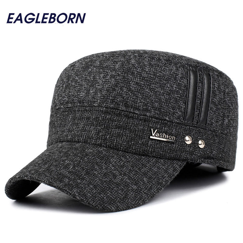 EAGLEBORN Winter Hats Men   Caps   Hat with Earflaps Keep Warm Flat Roof   Baseball     Caps   Old Men Thicken Snapback Russia Casquette