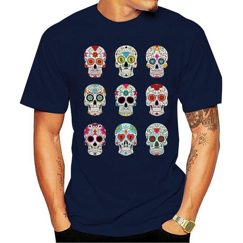 Camiseta nova marca moda masculina preto pp preto crânios mortos topos t 2021