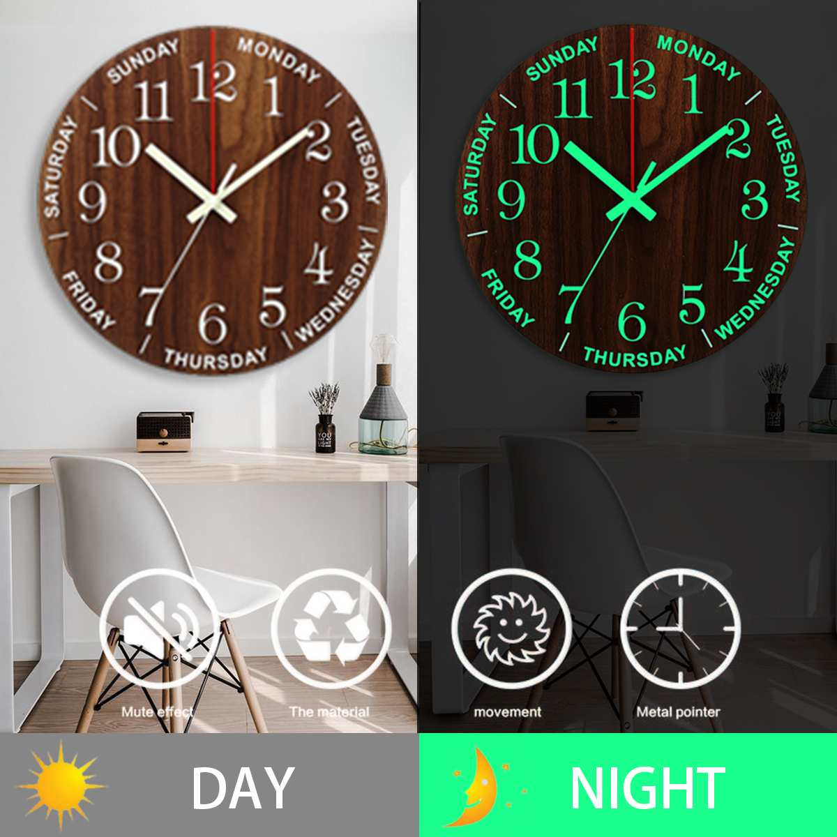 12 Inch Luminous Wall Clock Wood Silent light in dark night Nordic Fashion Wall Clock Non Ticking Clock With Night Light Gift|Wall Clocks| |  - title=
