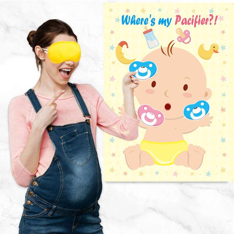 Sucette autocollant jeu bébé douche jeu épingle le mannequin sur le bébé sucette autocollants fête faveurs pour sexe neutre garçon ou fille