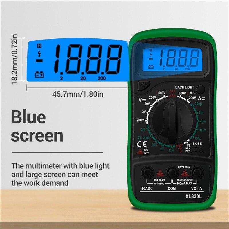 Портативный цифровой мультиметр с ЖК подсветкой, портативный амперметр переменного/постоянного тока, вольтметр, Омметр, тестер напряжения, мультиметр XL830L #1|Мультиметры|   | АлиЭкспресс