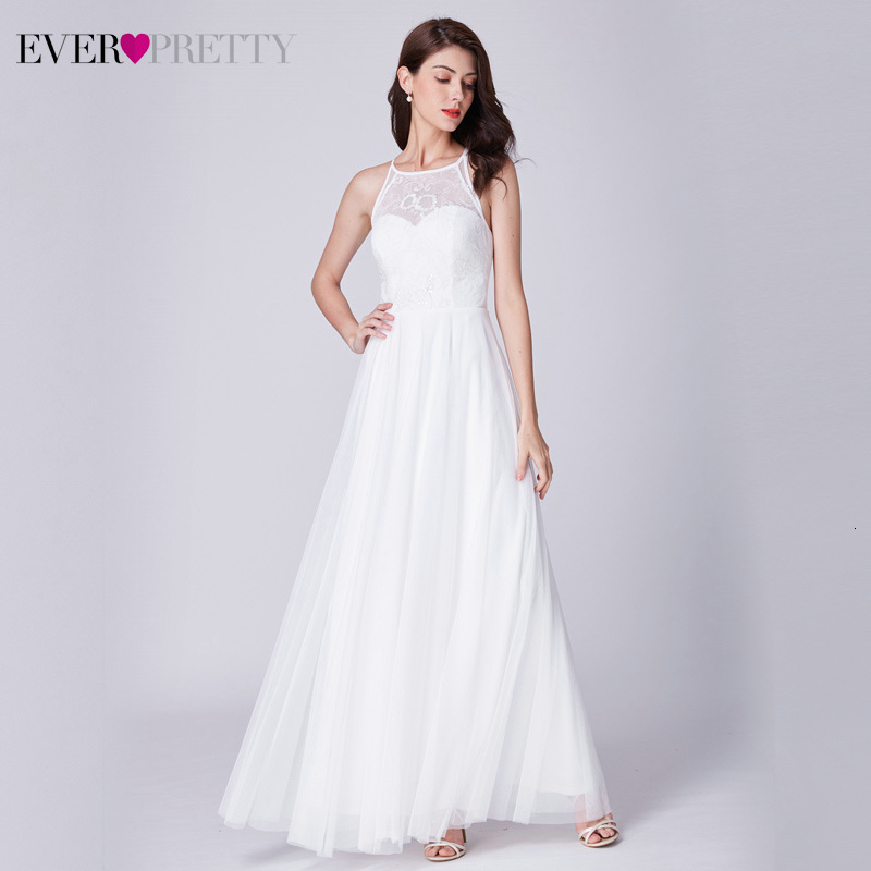 Simple White Wedding Dresses Ever Pretty EP07514WH Lace A-Line O-Neck Sleeveless Tulle Beach Style Bride Gowns Vestido Novia