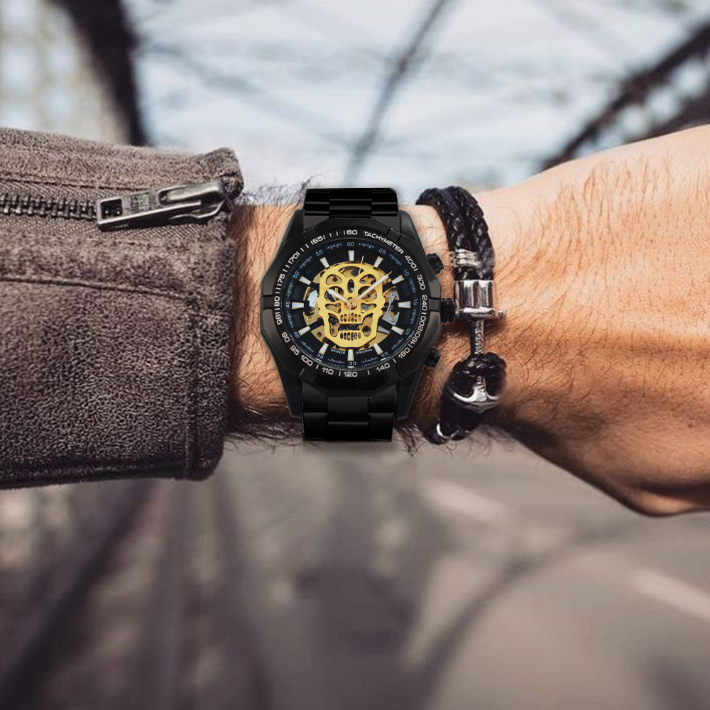 H008eebaac9d24470b4be04ee906622ffn WINNER New Fashion Mechanical Watch Men Skull Design Top Brand Luxury Golden Stainless Steel Strap Skeleton Man Auto Wrist Watch