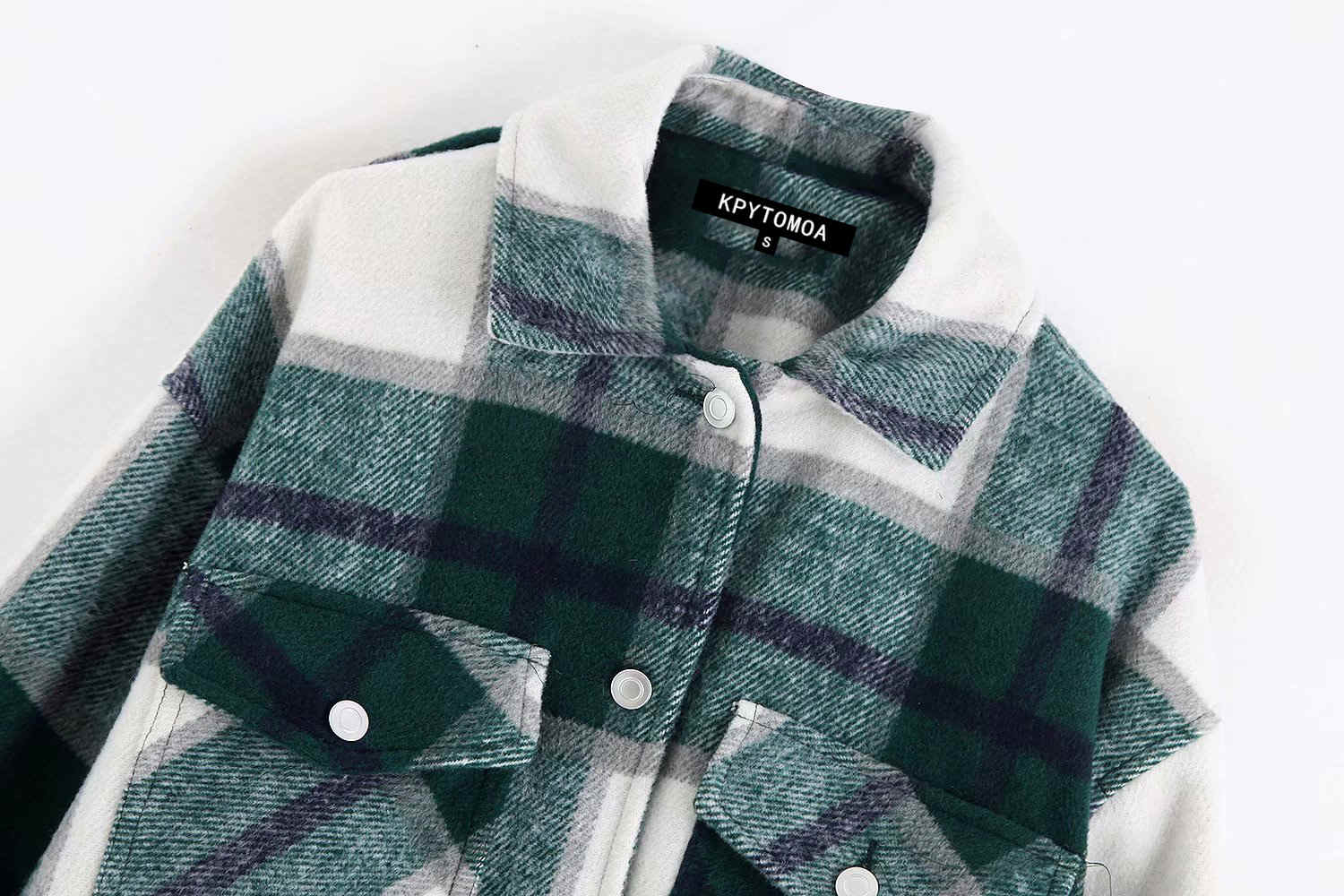 H008f0c50248740359f462458f81f816bB Vintage Stylish Pockets Oversized Plaid Jacket Coat Women 2019 Fashion Lapel Collar Long Sleeve Loose Outerwear Chic Tops