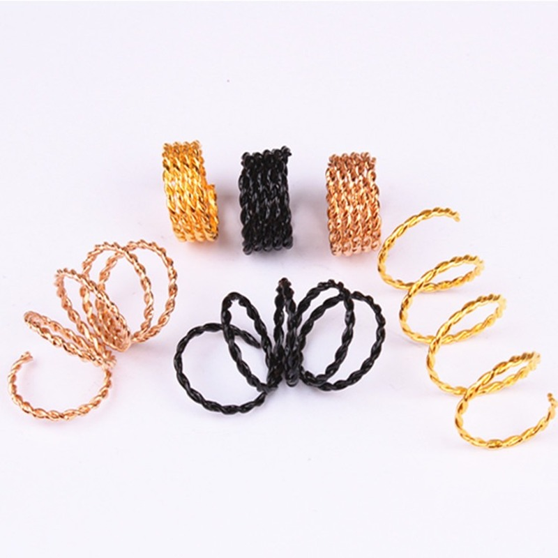 10Pcs Hair Braid Dread Dreadlock Silver Gold Black Rose Gold Beads Cuffs Clips Scaling Metal Spring Tube Ring Hair Accessories