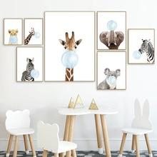 цена Baby Animal Blue Bubble Poster Nursery Canvas Wall Art Print Zebra Giraffe Painting Nordic Kids Decoration Picture Bedroom Decor онлайн в 2017 году