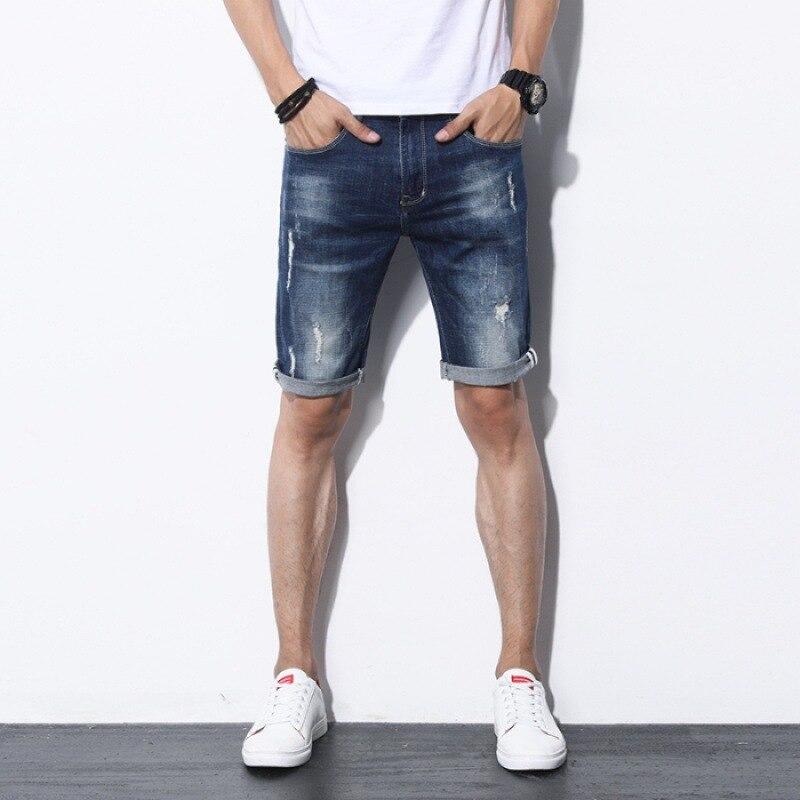 Thin With Holes Denim Shorts Male Fifth Pants Korean-style Trend Jeans Men's Slim Fit Capri Pants Men's Middle Pants Summer