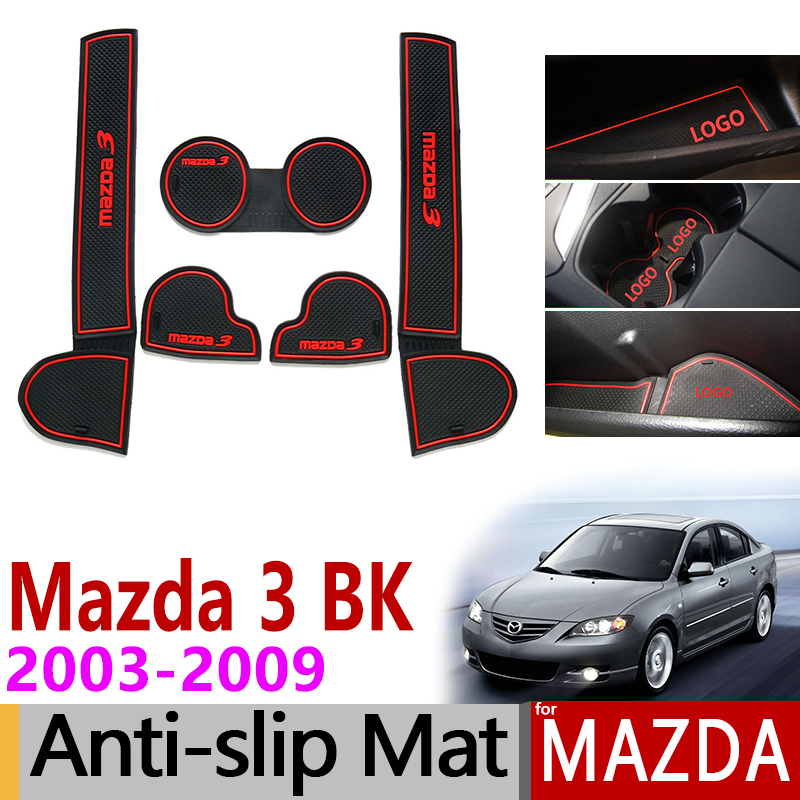 Anti-Slip Gate Slot Mat Rubber Coaster for <font><b>Mazda</b></font> <font><b>3</b></font> BK 2003 2004 2005 2006 <font><b>2007</b></font> 2008 2009 MK1 Mazda3 MPS <font><b>Accessories</b></font> Car Stickers image