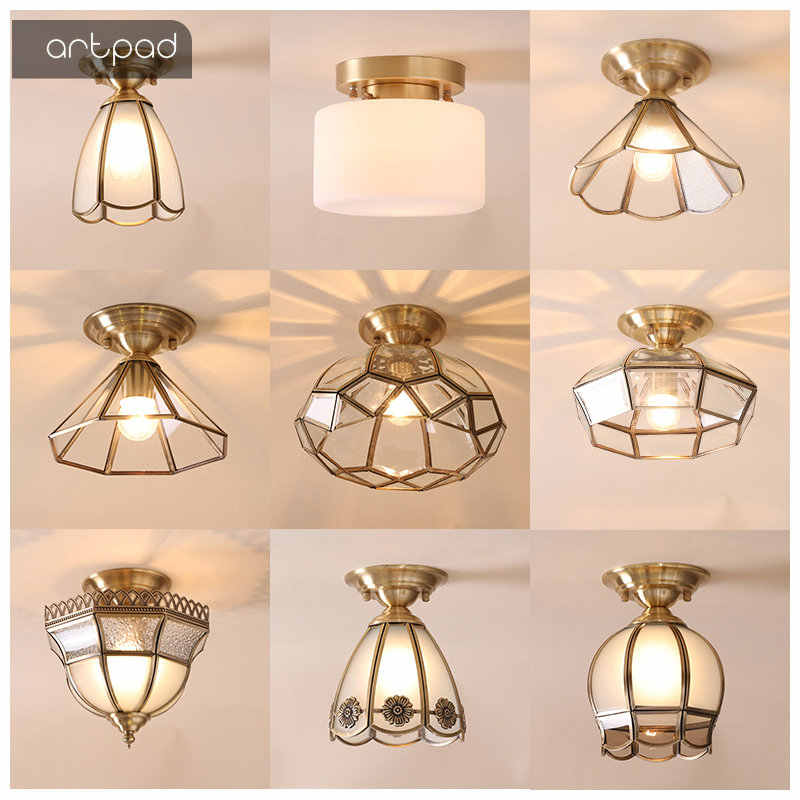 High Quality Nordic Ceiling Lights Flower Round Shade E27 Luxury Gold Color Copper LED Ceiling Lamps Balcony Porch Illuminate
