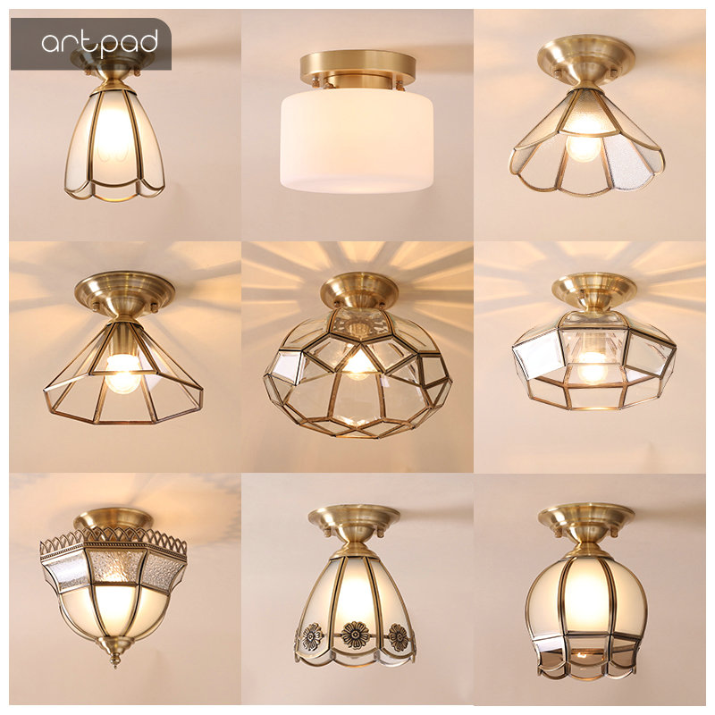High Quality Nordic Ceiling Lights Flower Round Shade E27 Luxury Gold Color Copper LED Ceiling Lamps Balcony Porch Illuminate|Ceiling Lights| |  - title=
