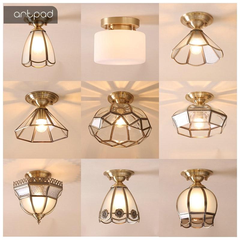 Потолочные светильники, высококачественные, скандинавские, круглые, с цветами, E27, Роскошные, золотого цвета, медные, светодиодные, для балко...