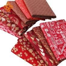 Tissu en coton rouge bordeaux par demi-cour tissu à coudre imprimé japonais et noël TJ1023