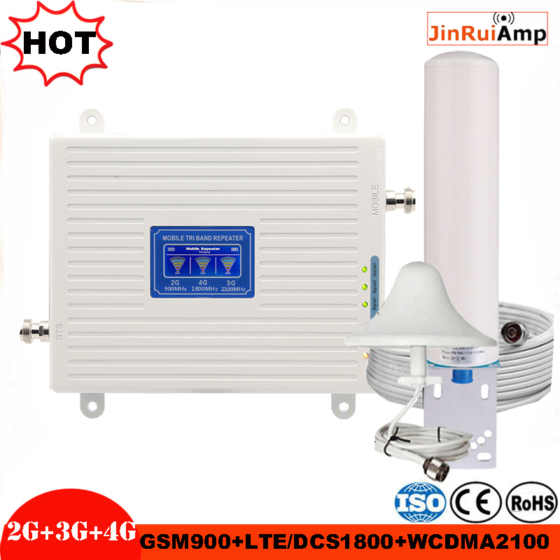 2G 3G 4G Tri Band Booster GSM 900+DCS/LTE 1800(B3)+UMTS/WCDMA 2100(B1) Mobile Signal Repeater Gsm 900/1800/2100 Signal Amplifier