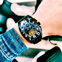 Luminous Moon and Stars Mens Watches Barrel-shaped Watches Men #8217 s Waterproof Leather Automatic Mechanical Watch Men #8217 s Watches cheap Fashion Casual QUARTZ Tungsten Steel 5Bar CN(Origin) Bracelet Clasp The night light moon phase shows the tourboy Horseshoe buckles