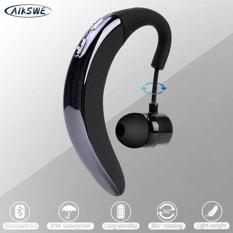 AIKSWE Bluetooth Earphone Wireless Headphones Car Phone Hook Design Handsfree Earbud Headset With HD MIC Music For Drive Phone