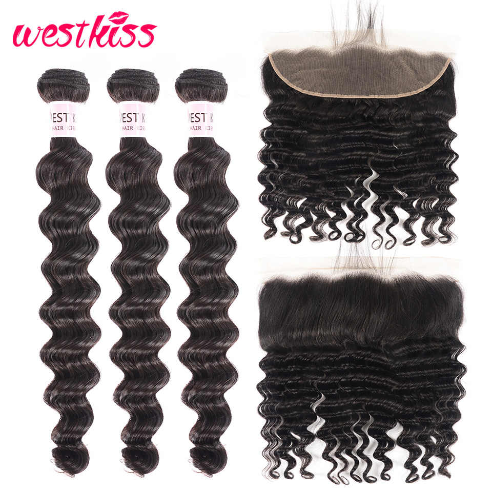 West Kiss Loose Deep Wave Peruvian Hair Bundles With Frontal Pre Plucked 13x4 Human Hair Lace Frontal Closure 10-28 H Remy Hair