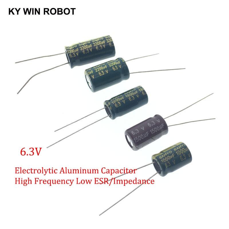 2-20pcs 6.3V High Frequency Low ESR Aluminum Capacitor 820UF 1000UF 1500UF 1800UF 2200UF 3300UF 4700UF 10000UF