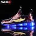 Размеры 26-37; детская повседневная обувь; Светящиеся кроссовки для мальчиков; светящаяся обувь с подсветкой на липучке; Светодиодный светиль...