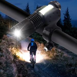 Image 2 - USB Rechargeable bicycle light LED Flashlight ZOOM Torch Zoomable Flashlight Camping Bicycle lamp + With Built in battery