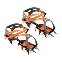 14 point crampons manganês aço escalada engrenagem anti skid neve gelo escalada sapato pinças crampon dispositivo de tração montanhismo