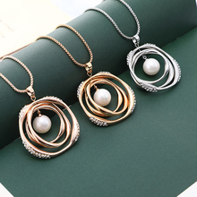 Big Round Pearl Crystal Pendant Necklace Beauty Accessories Rose Gold Silver Long Chain Necklace For Female Party Jewelry Gifts charm gold rose simulated pearl pendant necklace set long chain necklace jewelry wedding necklace accessories