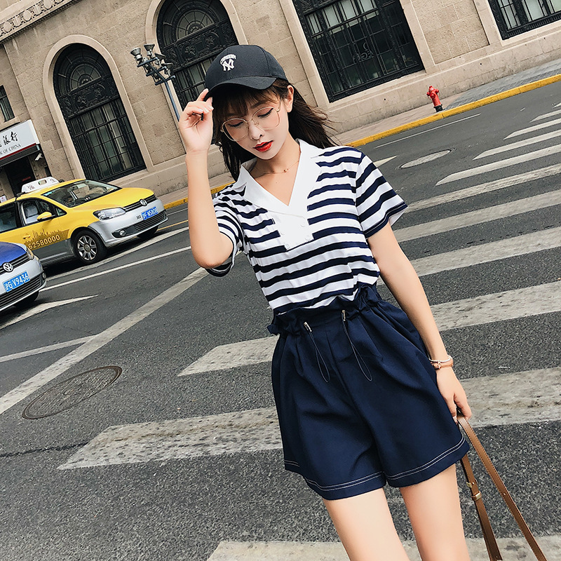 [Dowisi] 2018 Summer New Style V-neck Stripes Short Sleeve Tops Wide-Leg High-waisted Shorts Set F5113