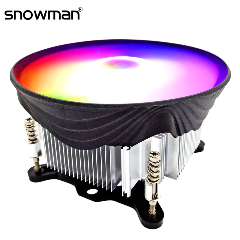 SNOWMAN <font><b>CPU</b></font> <font><b>Cooler</b></font> RGB 120mm Screw mounting Heat Sink for Intel LGA 1150 1151 1155 <font><b>1156</b></font> Radiator 3 Pin <font><b>CPU</b></font> Cooling Fan PC quiet image
