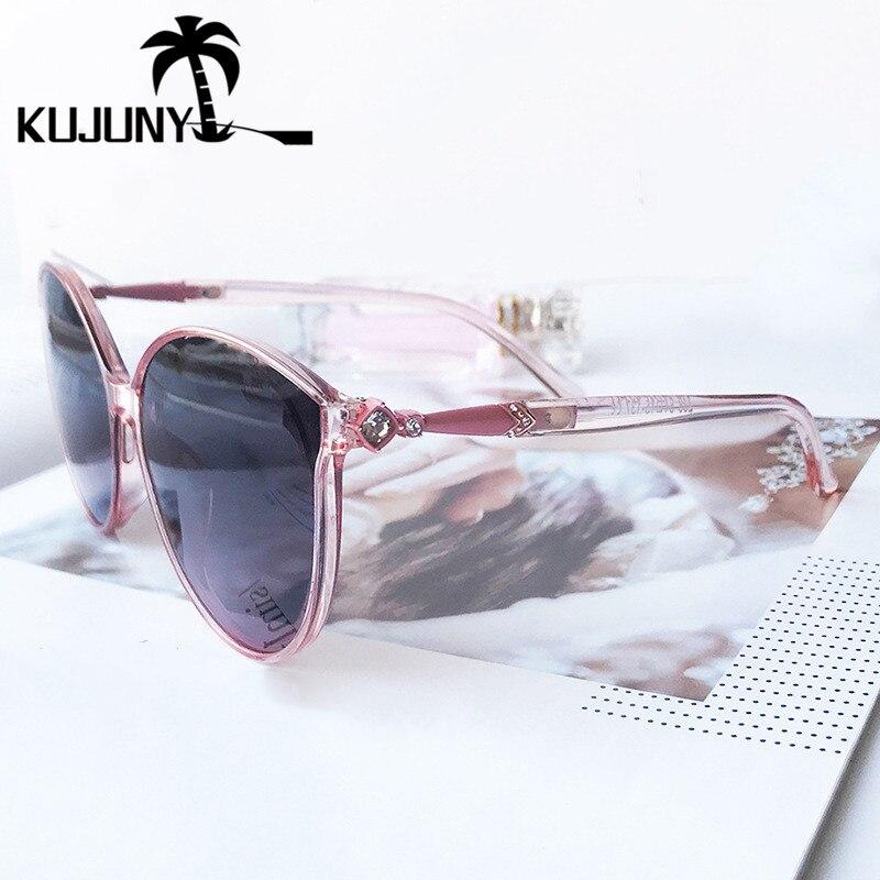 KUJUNY Polarized Sun Glasses For Women Vintage Round Sunglasses Ladies Cat Eye Eyewears Retro Driving UV400 Eyeglasses