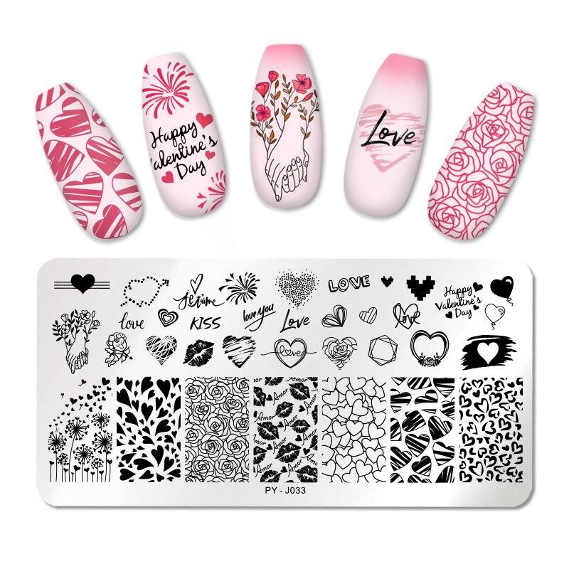 Пластины для стемпинга ногтей PICT You, пластины для стемпинга на День святого Валентина, пластины для стемпинга с цветком розы, трафаретные ин...